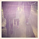Miranda Kerr posted a picture of her and Orlando Bloom taking a family walk with Flynn. Source: Instagram user mirandakerrverified