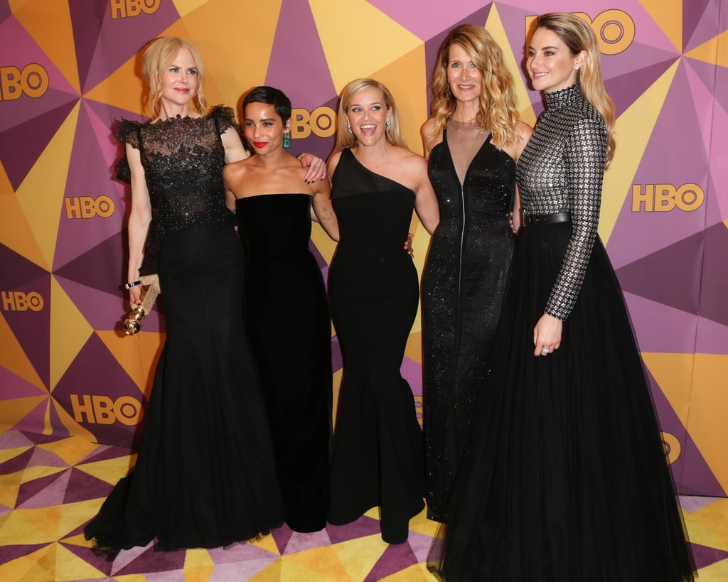 We still may not have an official release date for season two of Big Little Lies, but the cast's appearance at the Golden Globe Awards should hold us over until then. On Sunday, Reese Witherspoon, Nicole Kidman, Laura Dern, Shailene Woodley, and Zoë Kravitz all arrived in style at the star-studded ceremony in LA. The cast wore all black as a symbol of protest against sexual harassment in the industry. Not only did Big Little Lies win the award for best limited series or TV movie, but Nicole and Laura also took home trophies of their own. Following the ceremony, the ladies got silly inside the press room before heading to HBO's afterparty, where they linked up with Rowan Blanchard and Reese's daughter, Ava Phillippe. Hopefully this means we'll be seeing a lot more of them throughout award season.       Related:                                                                                                           Reese Witherspoon's Reaction to Nicole Kidman's Globes Win Will Make You Want to Hug Your BFF