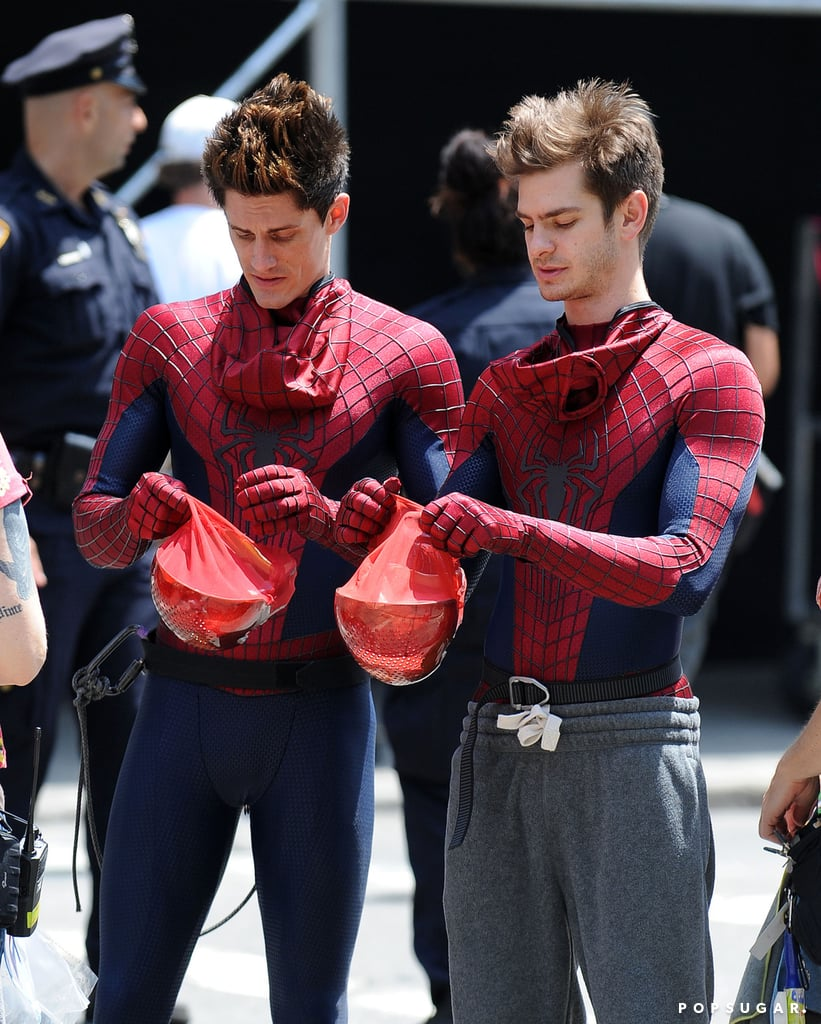 Andrew Garfield and his stunt double chatted on set before shooting scenes for The Amazing Spider-Man 2 in NYC.