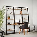 Ladder Shelf Desk and Wide Bookshelf Set
