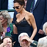 Victoria Beckham wore a lace slip dress to Wimbledon.