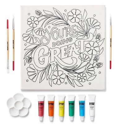 """Mondo Llama 11""""x11"""" Paint-Your-Own Canvas Kit You're Doing Great"""