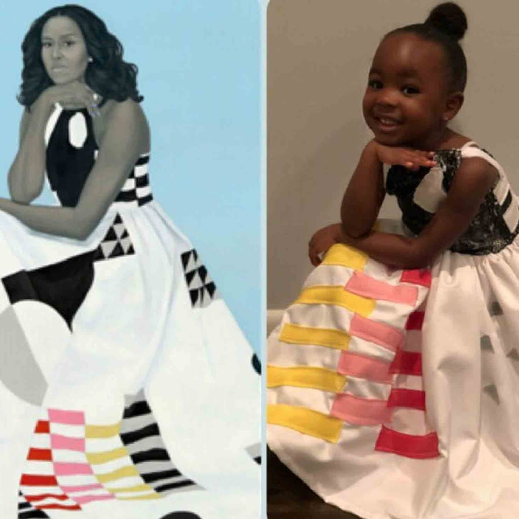 girl dresses up as michelle obama for halloween | popsugar australia
