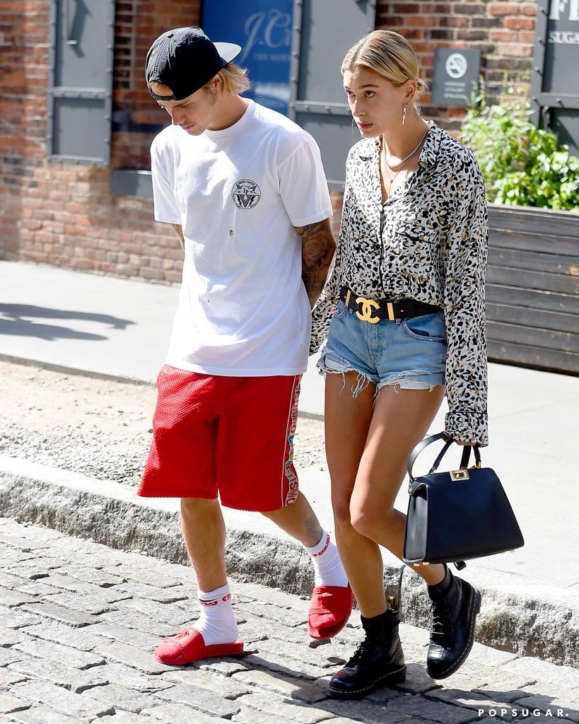 Hailey Baldwins Denim Shorts With Justin Bieber