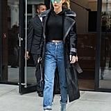 Gigi Hadid Wearing Rihanna's Manolo Blahnik Shoes NYC 2016