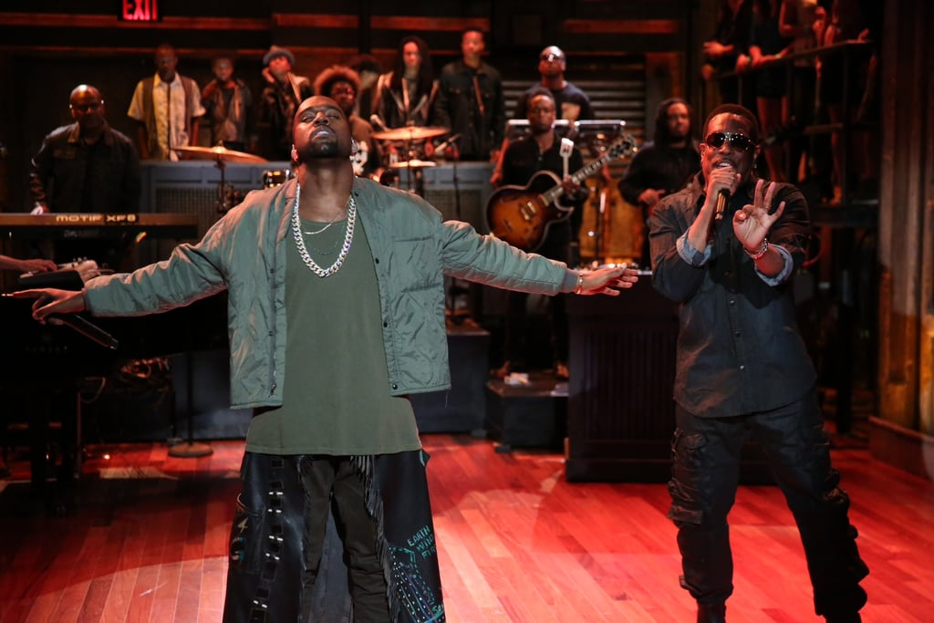 Kanye West performed on Late Night. Source:  Lloyd Bishop/NBC