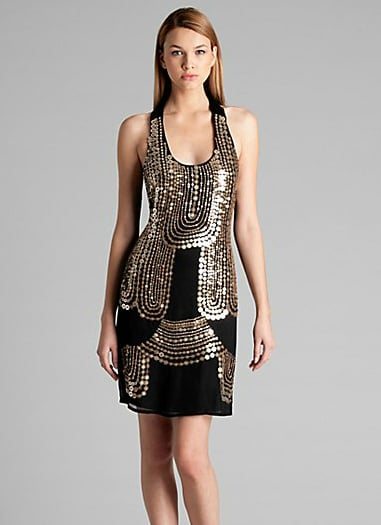 Switch up your LBD routine with this gold sequined version.  Guess Gold Coin Sequin Dress ($140)