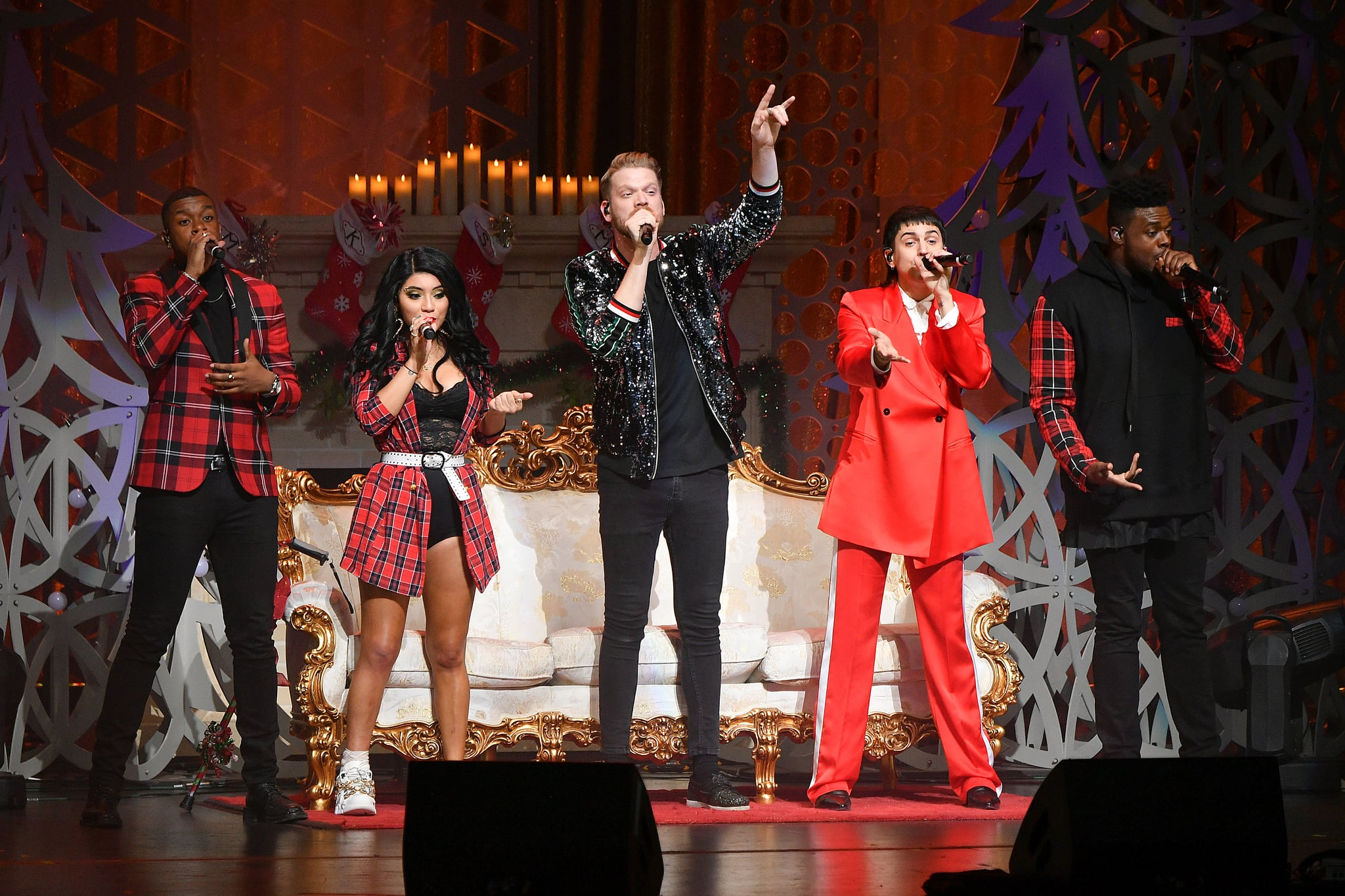 NEW YORK, NEW YORK - DECEMBER 18:  (L-R)  Matt Sallee, Kirstin Maldonado, Scott Hoying, Mitch Grassi, and Kevin Olusola of Pentatonix perform onstage at The Beacon Theatre on December 18, 2018 in New York City. (Photo by Dia Dipasupil/Getty Images)