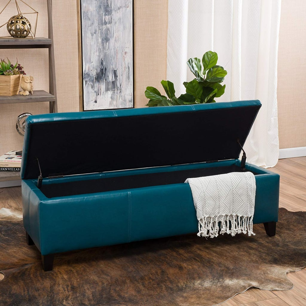 Christopher Knight Home Living Skyler Teal Leather Storage Ottoman