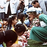 Princess Diana, along with Prince Charles, met with a group of children in New Zealand for an official welcoming ceremony in April 1983.