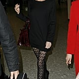 Add Patterned Tights Under a Dress For a More Interesting Look