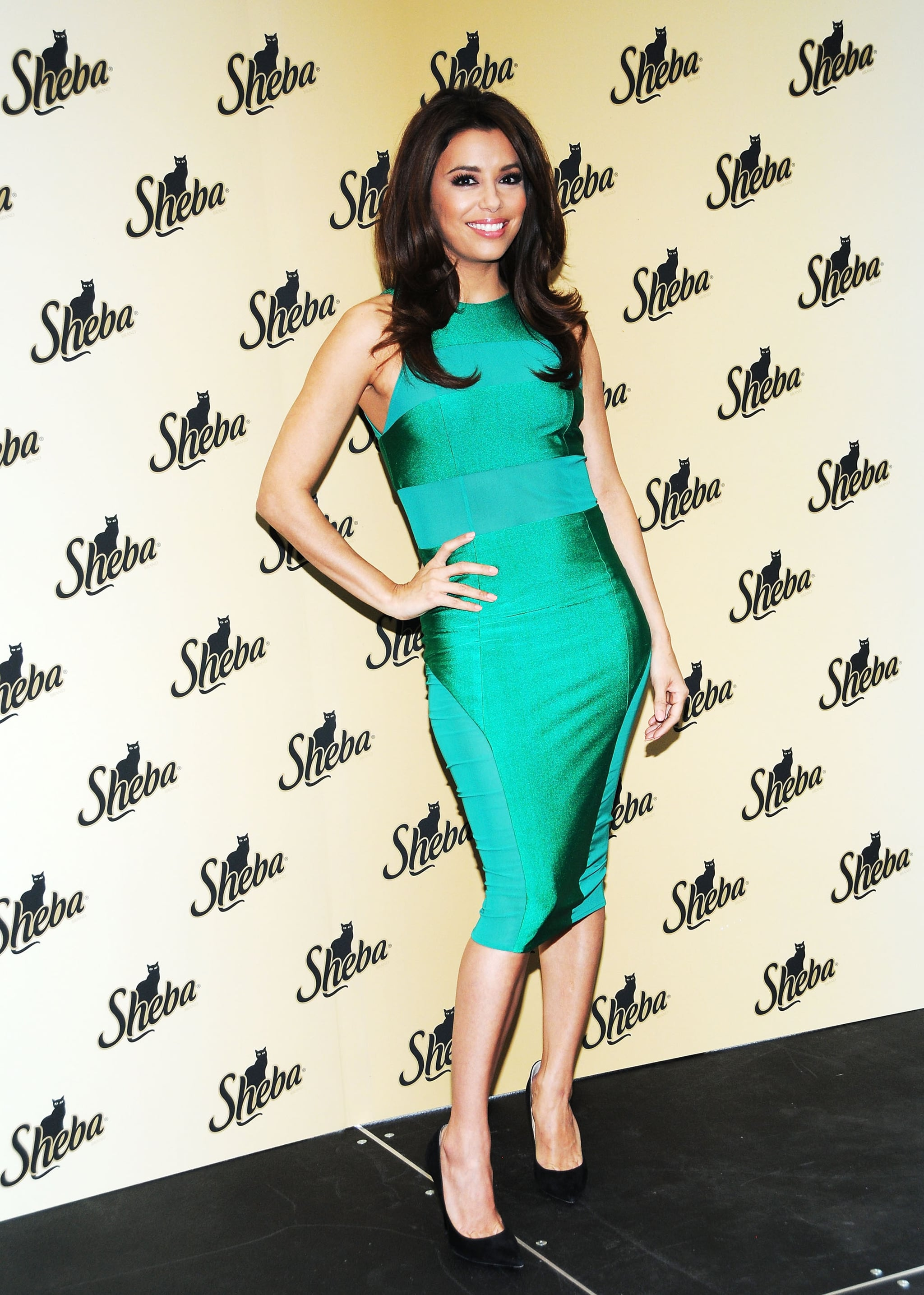 For a 2013 Sheba event, Eva Longoria showed off her toned figure in a emerald paneled sheath paired with suede Jimmy Choo pumps and sparkling Martin Katz jewels.