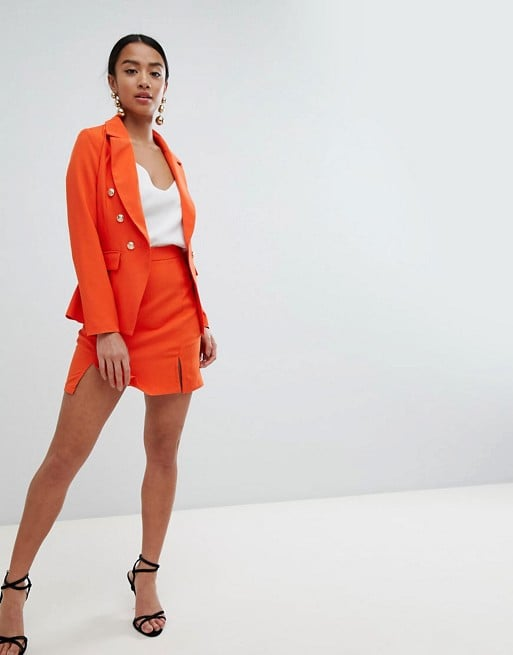 Missguided Petite Gold Button Blazer & Skirt Suit