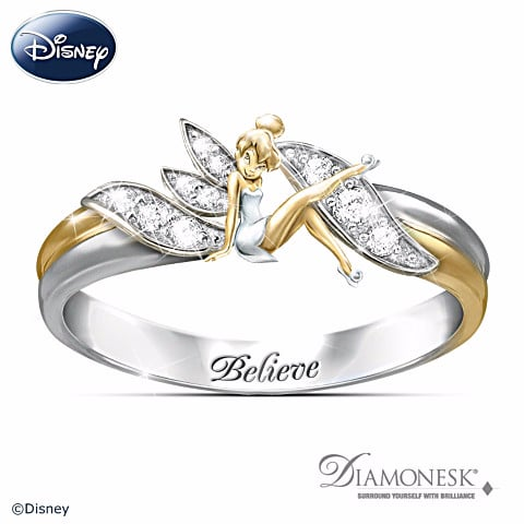 sterling silver with 18 karat gold plating tinker bell believe two toned - Disney Engagement Rings And Wedding Bands