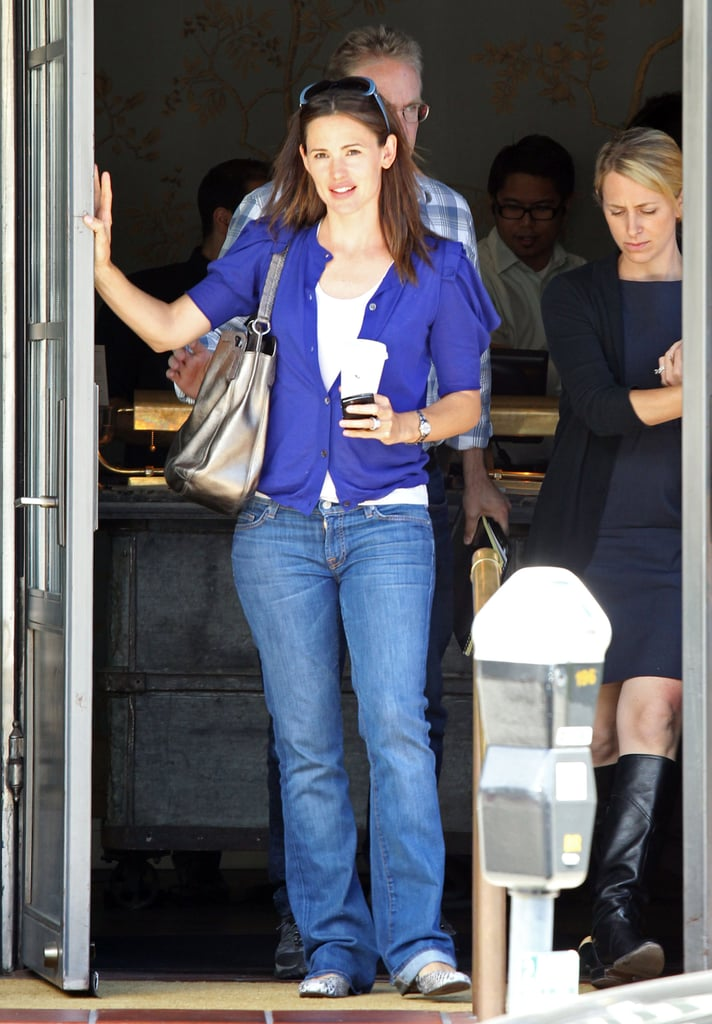 Jennifer Garner stopped at one of her favorite restaurants, Tavern, in LA yesterday. The Hollywood mom chatted with a pregnant friend and toted a hot drink as she left. She was without her daughters, Seraphina and Violet, for the afternoon stop but has been clocking lots of mommy-and-me time with her girls. The trio went to the theater this weekend and have been making library visits, shopping, and running errands together all Spring. Ben joined the ladies in his life for several outings recently, but he went solo to Saturday's Spike Guys Choice Awards to pick up a special honor from the troops. Both he and Jennifer have been absent from the big screen for several months, but they each have film work to do this year. He's starting work on his next directorial project, Argo, and Jennifer has Butter and The Odd Life of Timothy Green hitting theaters.