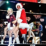 Miley Cyrus twerked with Santa Claus (aka Cheyne Thomas) at the Jingle Ball.