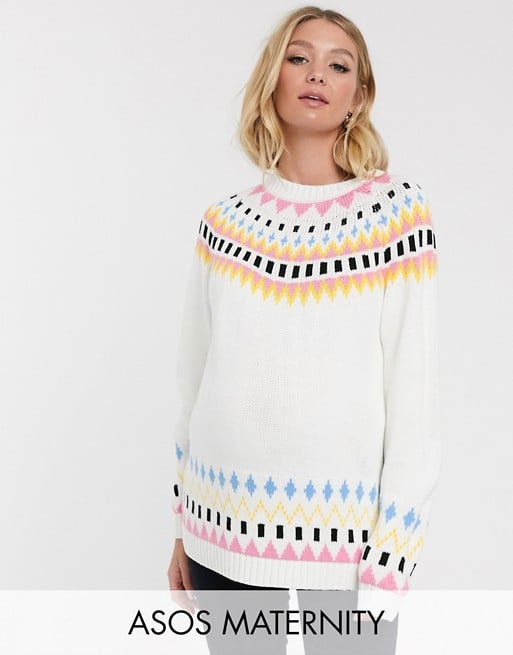 ASOS Design Maternity Ski Pattern Fairisle Jumper