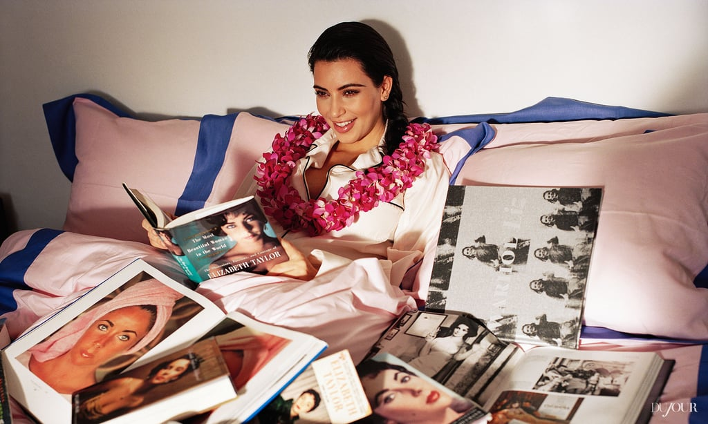 Kim Kardashian smiled for a spread in DuJour magazine.