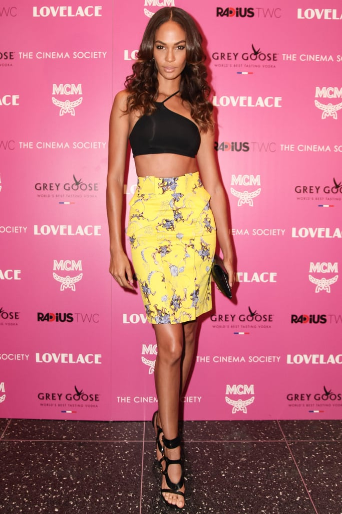 Joan Smalls showed some skin at the screening of Lovelace in NYC.