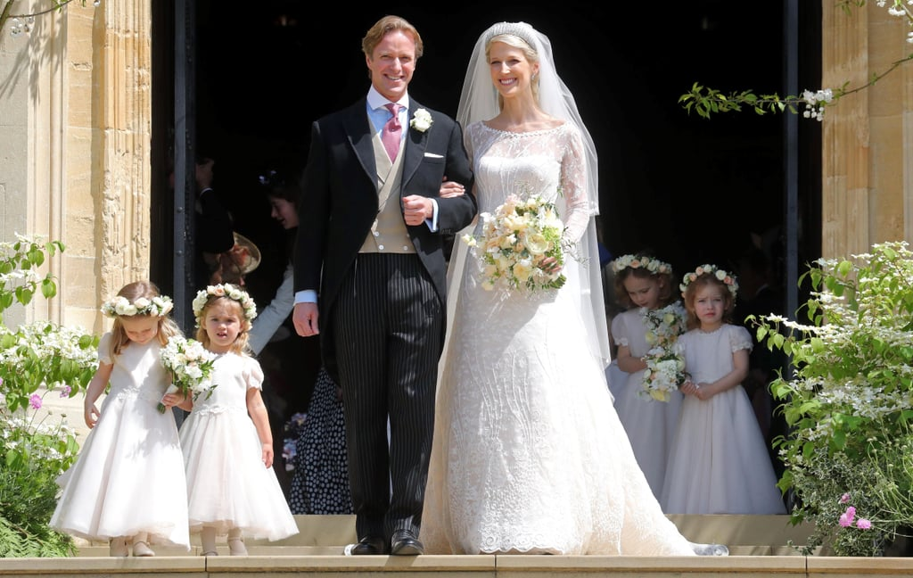 "Congrats are in order for Lady Gabriella Windsor and her now-husband Thomas Kingston! After getting engaged in August 2018, the couple married at St. George's Chapel at Windsor Castle on May 18, the day before Prince Harry and Meghan Markle's one-year wedding anniversary. Gabriella, or ""Ella"" as she's affectionately known, is the daughter of Queen Elizabeth II's cousin Prince Michael of Kent. She wore a gorgeous lace Luisa Beccaria gown for her walk down the aisle, as well as a diamond tiara previously worn by her mother and grandmother at their own weddings.  Many members of the royal family were in attendance for Saturday's celebrations, including the Queen, Prince Phillip, Harry, Princess Anne, Princesses Eugenie, and Princess Beatrice. The Duke and Duchess of Cambridge did not attend but Catherine's parents Carole and Michael, her brother James, and her sister Pippa showed up to represent Team Middleton. Meghan Markle, Duchess of Sussex, was also missing from the events, since she gave birth to Archie Mountbatten-Windsor less than two weeks ago.  Keep reading to see more photos from Gabriella and Thomas's stunning wedding day — and reminisce on some of our favourite moments from Harry and Meghan's, one year ago!      Related:                                                                                                           Harry Was So Worried About Meghan Before She Walked Down the Aisle, Which Is Very Sweet"