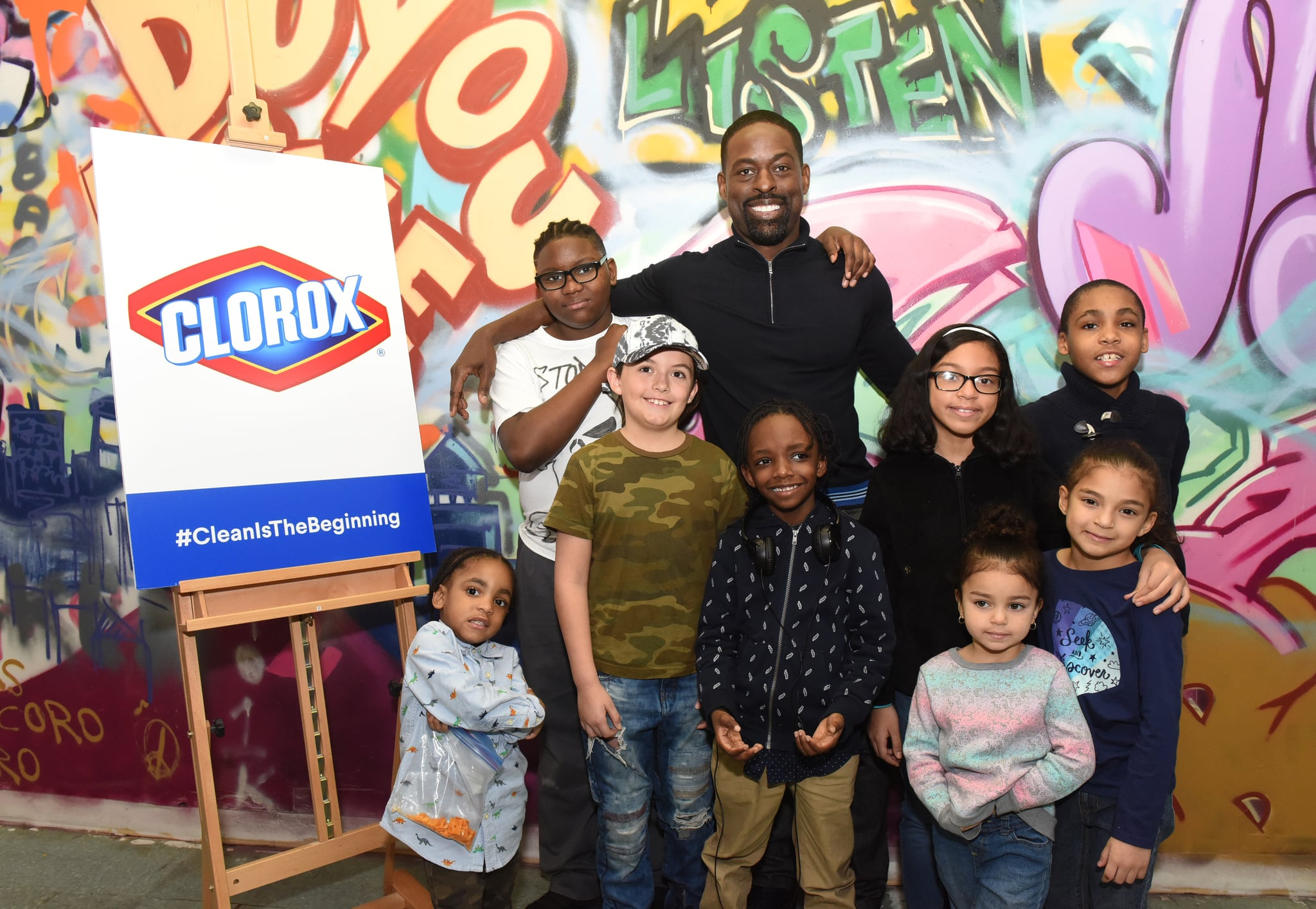 Award-winning actor Sterling K. Brown joins Clorox and Thrive Collective to celebrate the transformative power of clean at a new Youth Opportunity Hub in Harlem, New York, Tuesday, Feb. 27, 2018. The space was cleaned with a grant from Clorox and the help of 250 community volunteers to create new possibilities for youth as an arts hub and mentoring center. (Photo by Diane Bondareff/Invision for Clorox/AP Images)