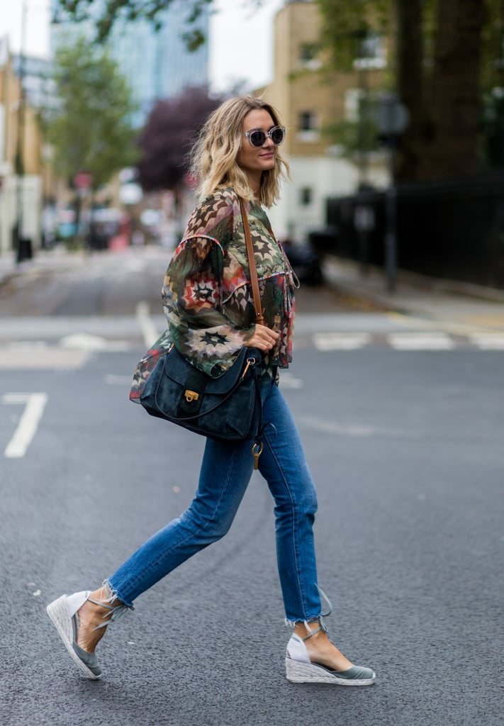 With espadrilles and a breezy top