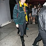 Sophie Turner in a Green and Yellow Jacket in 2018