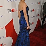 Katy Perry wore a blue frock.
