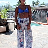 Hannah Bronfman bared her enviable abs in a bikini top and high-waisted pants while out at The Retreat at Sparrows Lodge.