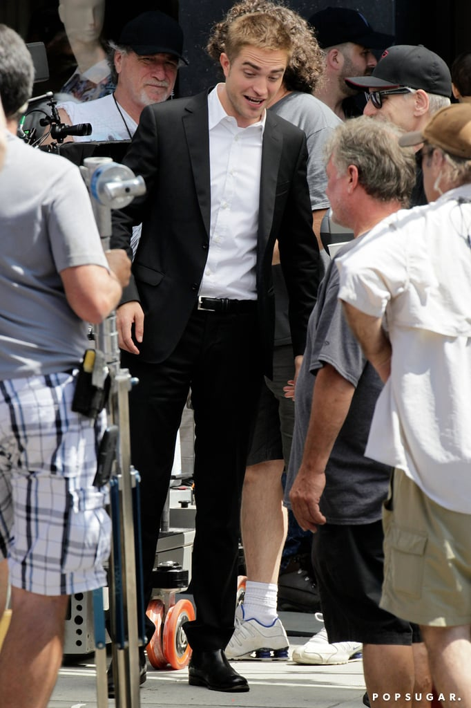 Robert Pattinson was all smiles on his LA set.