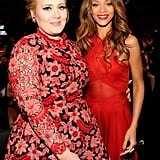 Rihanna and Adele coordinated in bright red.