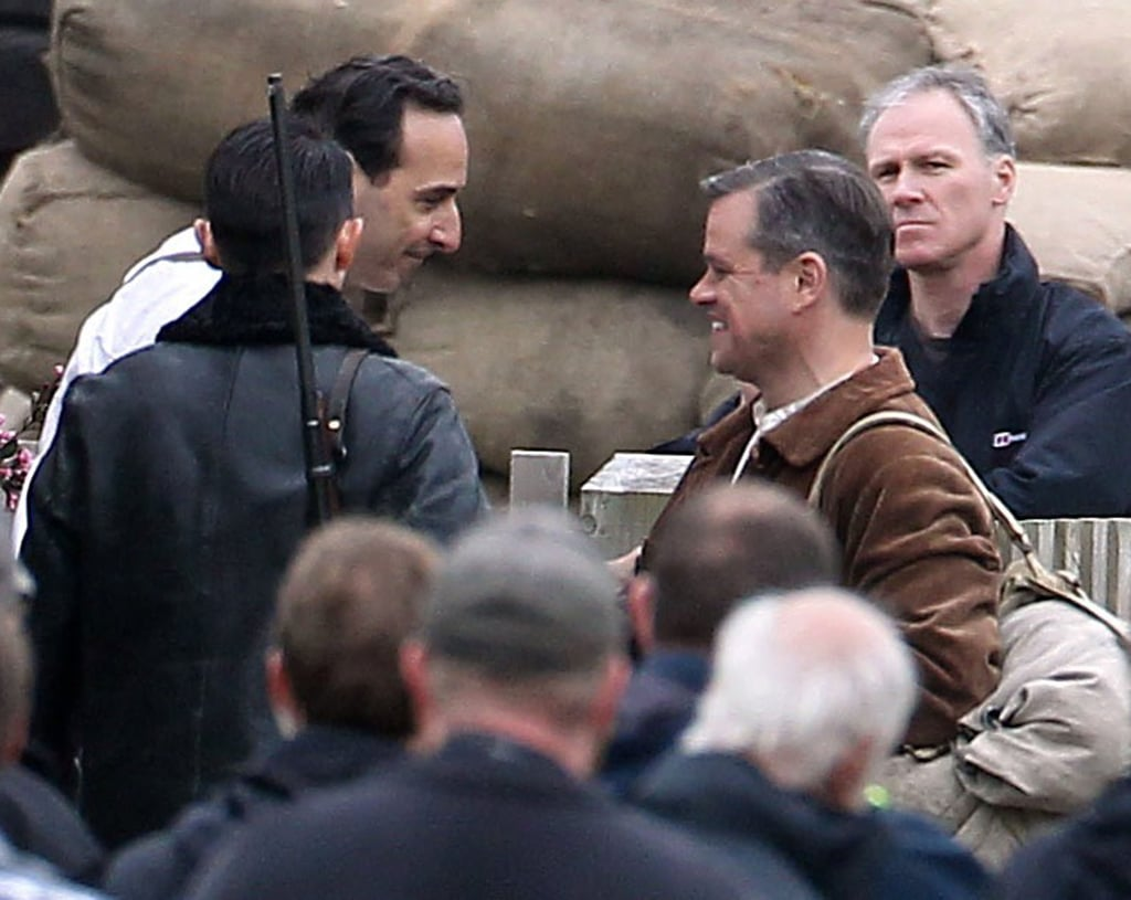 Matt Damon smiled on the set of The Monuments Men on Thursday.