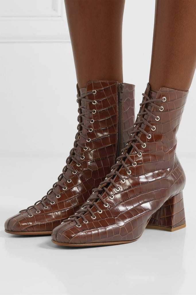 By Far Becca Glossed Croc Effect Leather Ankle Boots