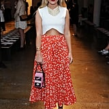 Kate Foley showed a hint of skin in her maxi skirt at the Louise Goldin show.