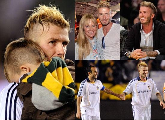Photos of David Beckham New Hair Cuddling Cruz, David Beckham at Lakers Game, David Beckham Winning MLS Western Conference