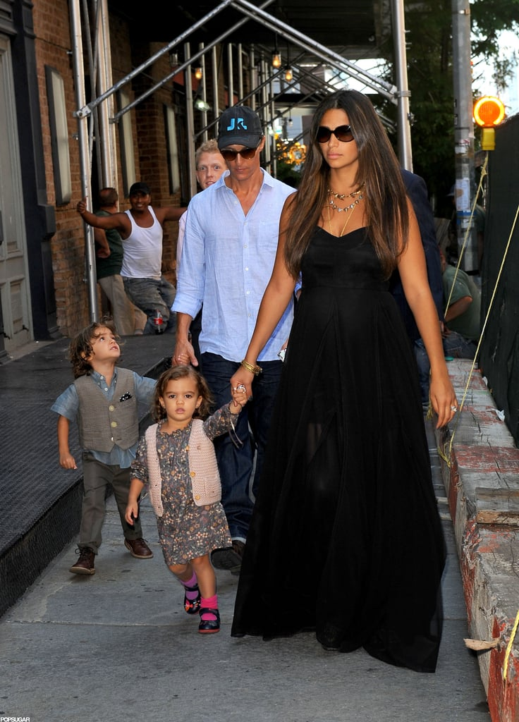 Matthew McConaughey went out to lunch in NYC today with his wife Camila and their kids Levi and Vida. Yesterday, though, Camila was out with just Levi and Vida. She pushed the toddlers in a stroller, but at one point, Levi decided to get out and walk. Camila and Matthew are expecting their third child together, but while they await the new arrival, Matthew has been keeping busy at work. He's filming his latest role in The Wolf of Wall Street opposite Leonardo DiCaprio in the Big Apple this month.  Matthew has been looking noticeably thinner lately as he preps for his next part as an AIDS patient in The Dallas Buyer's Club. Matthew, who bulked up for Magic Mike, recently said he's aiming to lose 30 pounds before cameras start rolling on the drama.