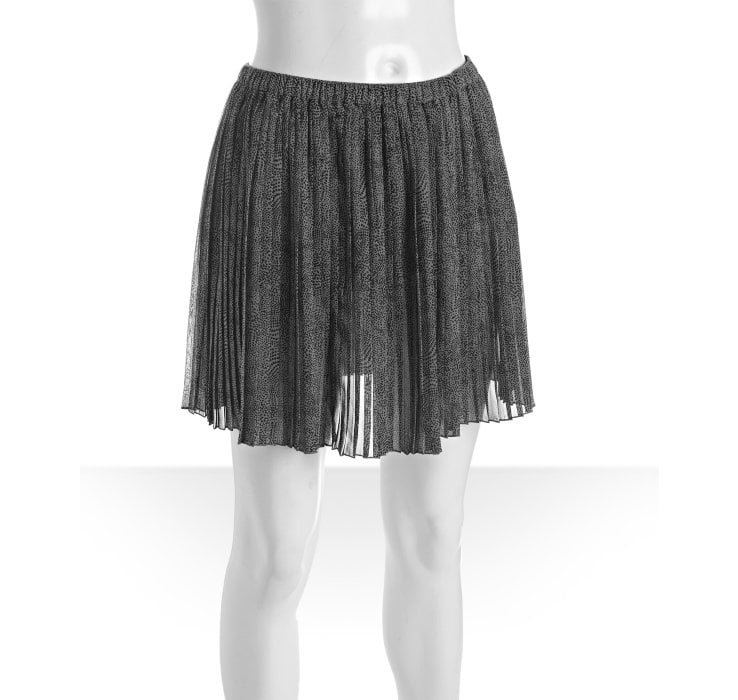 Flirty pleated chiffon is a chic-cum-preppy addition. BCBGeneration French Gray Animal Print Chiffon Pleated Skirt ($50)