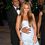 Jay Z held on to Beyoncé as they made their way to the Vanity Fair Oscars afterparty in February 2005.