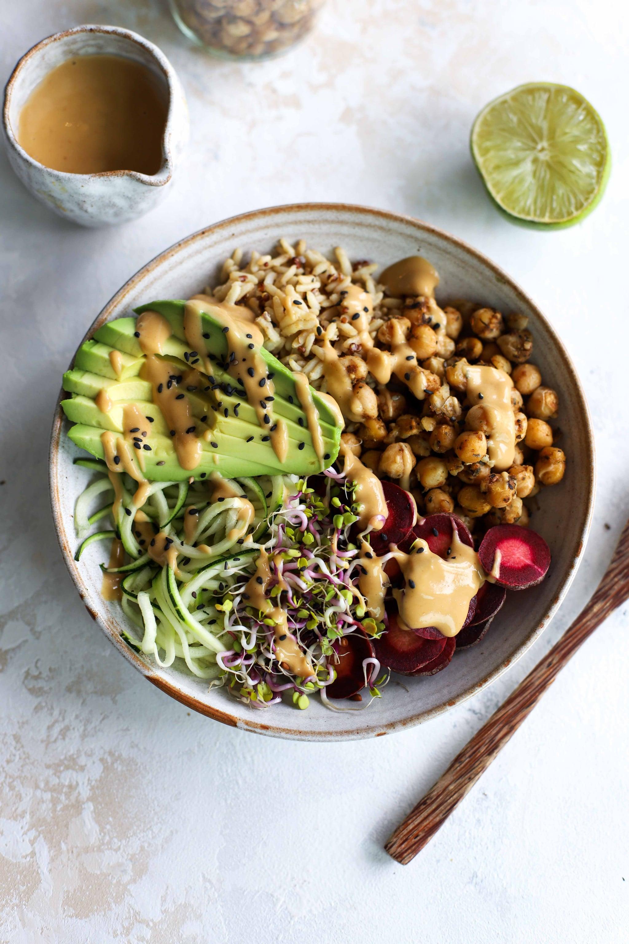 Peanut Butter Chickpea Satay Buddha Bowl Recipe | POPSUGAR Fitness Australia