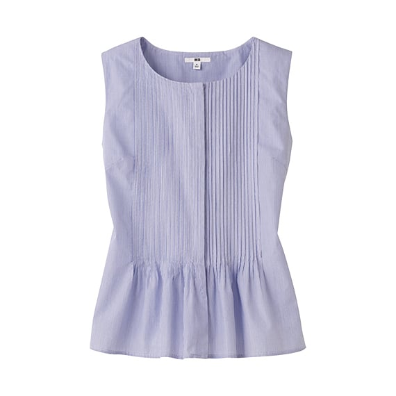 Swap out your classic button-down for a summery-felling peplum top.  Uniqlo Pleated Sleeveless Blouse ($30)