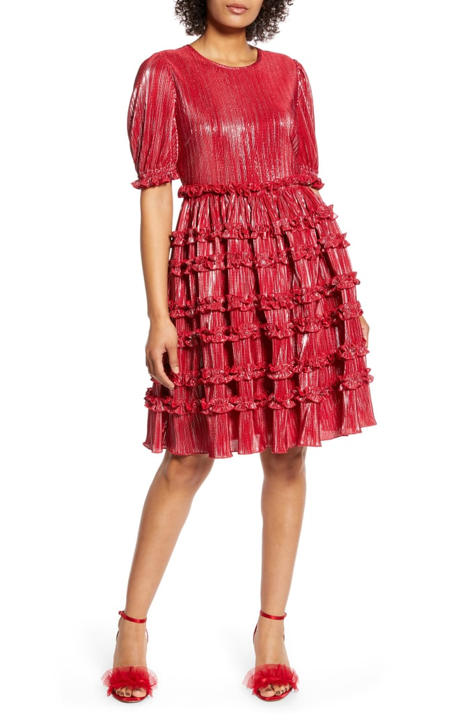 Halogen x Atlantic-Pacific Ruffle Plissé Dress