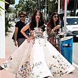 Walking the streets in a voluminous Mark Bumgarner gown.