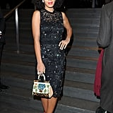 Solange Knowles upped the ante on a sparkly frock with a pair of contrasting red heels.