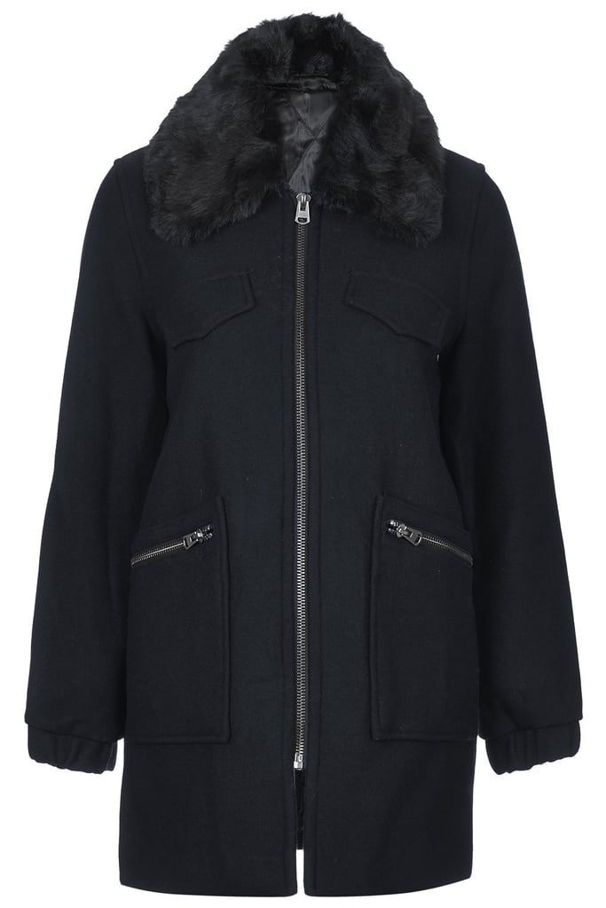 Topshop Faux Fur Collar Biker Coat