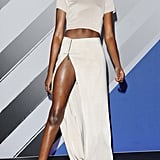 Some serious skin-revealing pieces took center stage at the show, including this thigh-high slit maxi skirt and crop top.