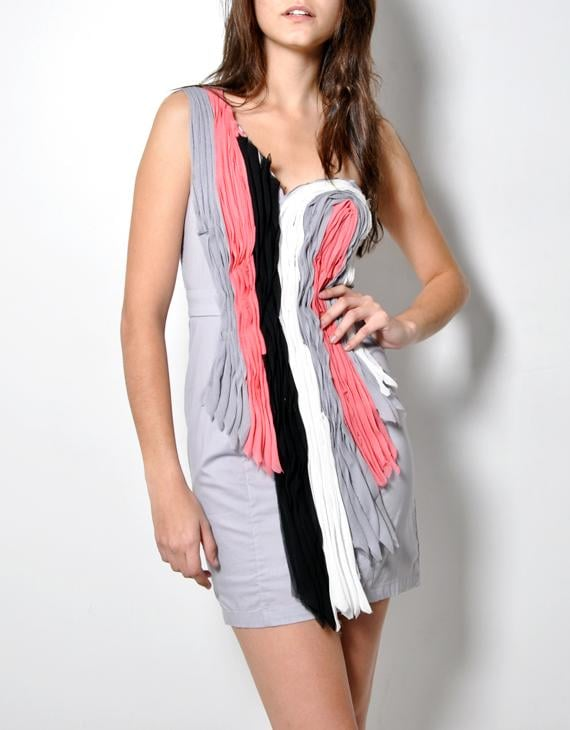 Oak Multicolor One Shoulder Swirl Dress ($128)