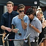 Miley Cyrus and Liam Hemsworth were on the Philadelphia set of Paranoia.