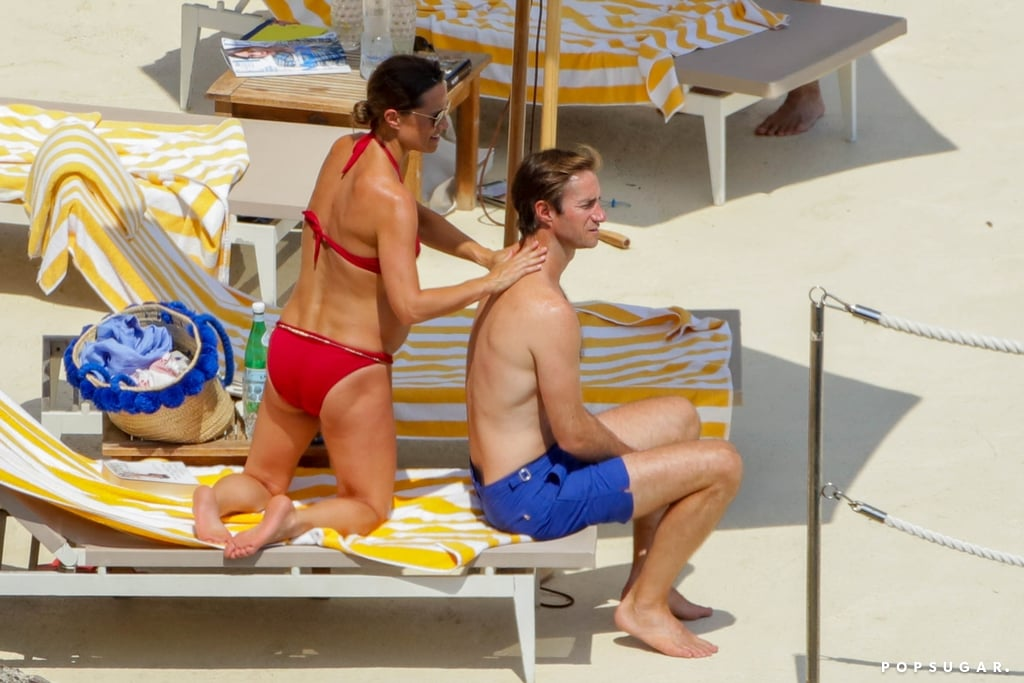 Pippa helped James apply sunscreen to his back.