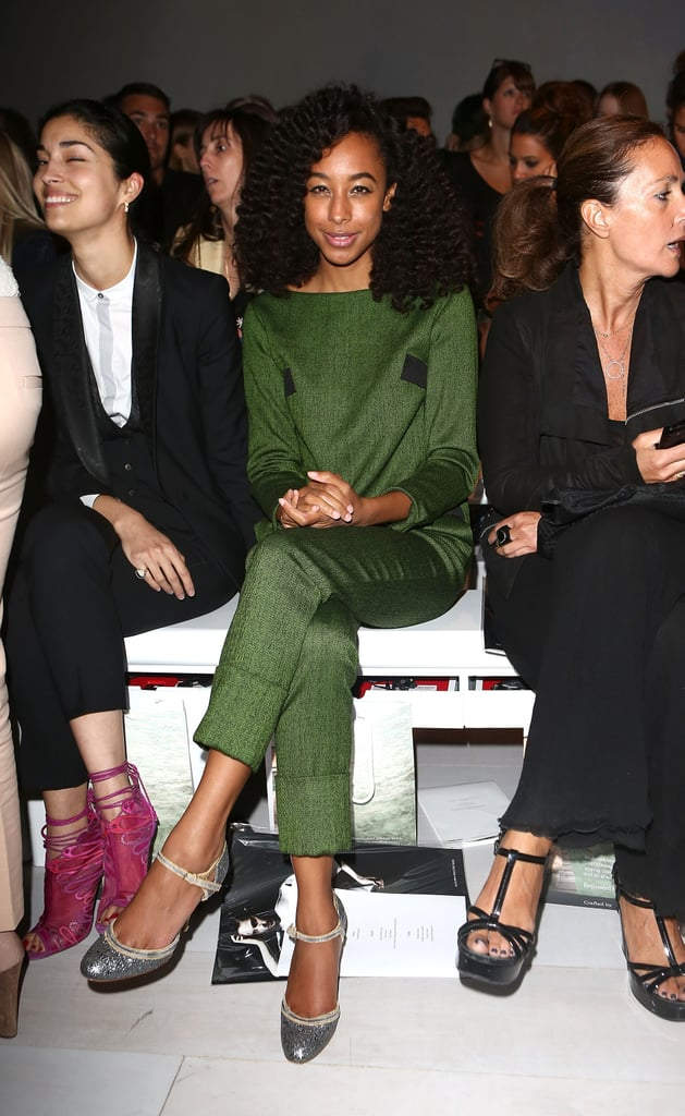 Corinne Bailey Rae sat pretty in Osman's front row in deep-emerald-hued separates.