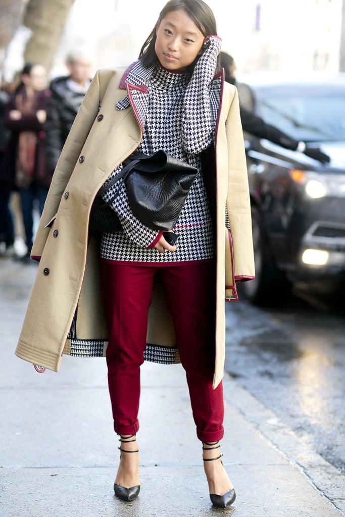 Margaret Zhang gave us a fresh spin on the classics in her houndstooth top and trench.  Source: Tim Regas